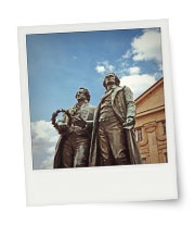 Instant print of  monument of Goethe and Schiller