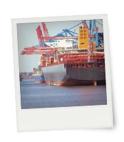 Instant print with Container Ship