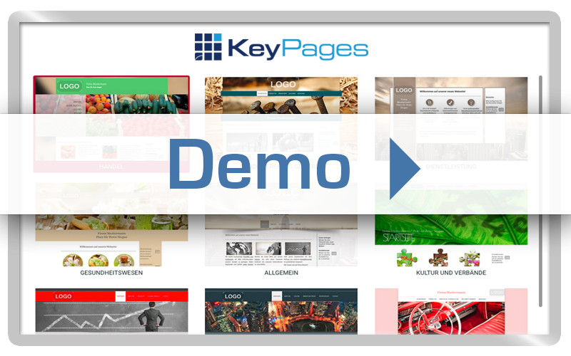 Get a first impression of the modular homepage system. KeyPages-Demo.