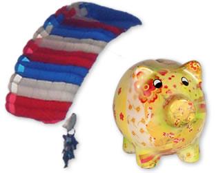 parachutist and piggy bank